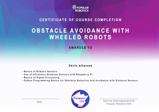 Obstacle Avoidance with Wheeled Robots Certificate
