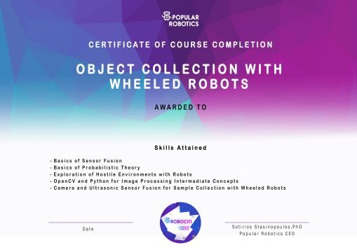 Object Collection with Wheeled Robots Certificate